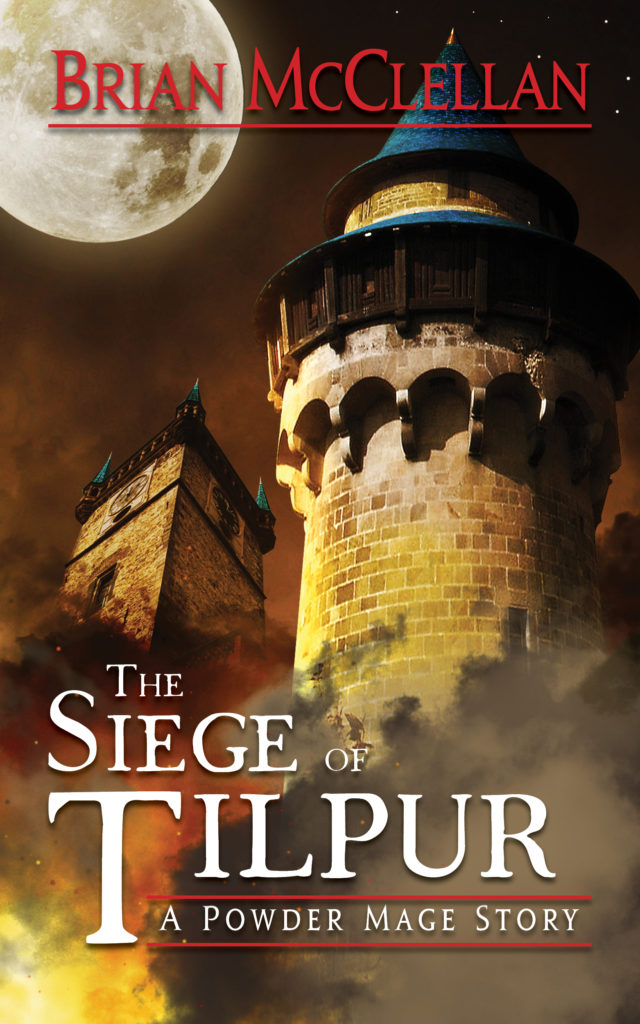 A book cover with a stone tower under siege.