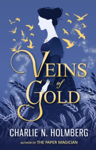 A blue-purple cover portraying a woman surrounded by wheat and golden seagulls in flight.