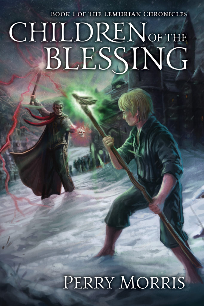 "Book cover design: two wizards battling and the words ""Children of the Blessing"""