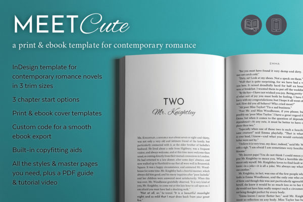 InDesign template for contemporary romance novels in 3 trim sizes. 3 chapter start options. Print & ebook cover templates. Custom code for a smooth ebook export. Built-in copyfitting aids. All the styles & master pages you need, plus a PDF instruction guide and a tutorial video.