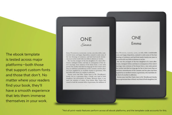 The ebook template is tested across major platforms, both those that support custom fonts and those that don't.
