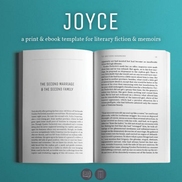 Joyce, a self-publishing book design template for literary novels & memoirs