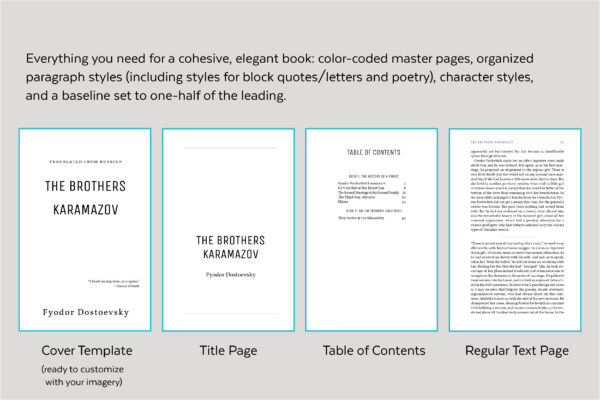 Joyce's cover template, title page, table of contents, and standard text page.