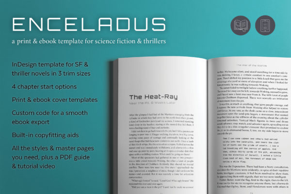 Enceladus, a book design template for science fiction and thrillers