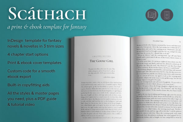 Scathach, a fantasy book design template.