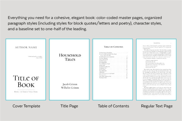 Other page styles for Scathach, a fantasy book design template